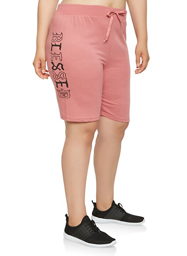 Plus Size Blessed Graphic Athletic Shorts,PINK,large
