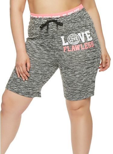 Plus Size Marled Graphic Athletic Shorts | Tuggl