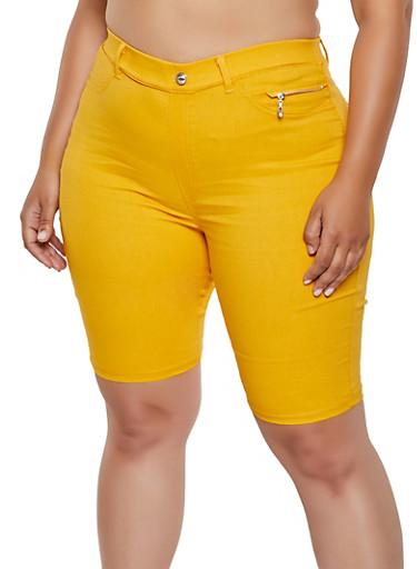 Plus Size Zip Detail Stretch Bermuda Shorts,MUSTARD,large