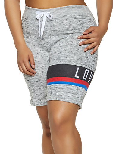 Plus Size Love Graphic Sweat Shorts,GRAY,large