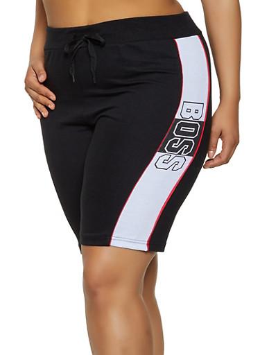 Plus Size Boss Graphic Sweat Shorts,BLACK,large