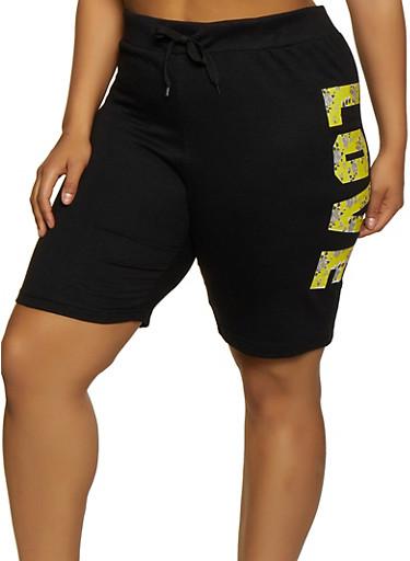 Plus Size Love Side Graphic Sweat Shorts,BLACK,large