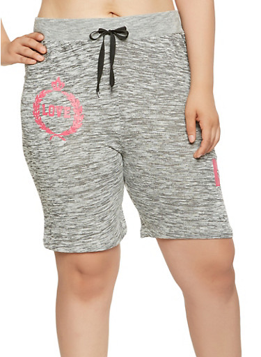 Plus Size Love Graphic Athletic Shorts,BLACK,large