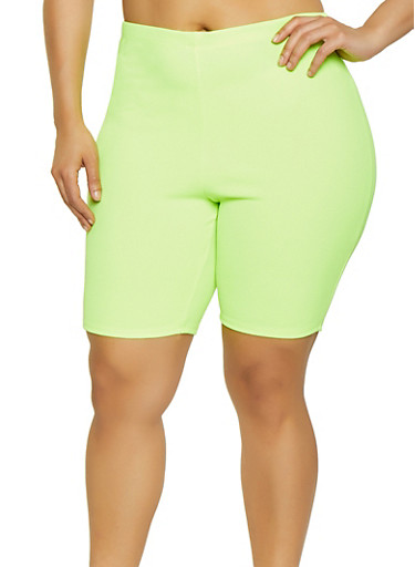 Plus Size Neon Textured Knit Bike Shorts,YELLOW,large