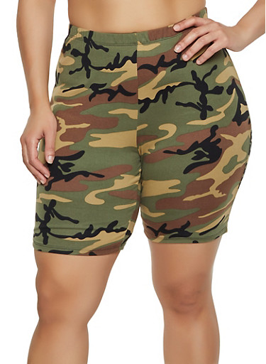 Plus Size Camo Bike Shorts | 0960074010037,OLIVE,large