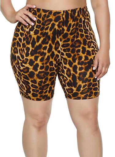 Plus Size Leopard Soft Knit Bike Shorts,BROWN,large