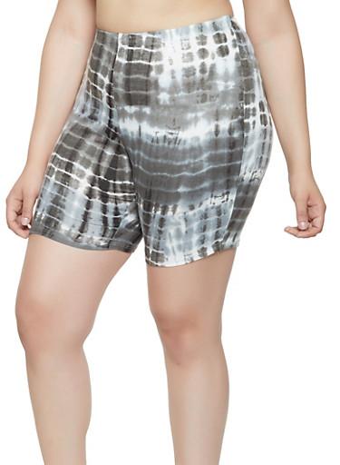 Plus Size Printed Tie Dye Bike Shorts,CHARCOAL,large