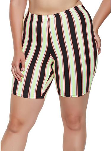 Plus Size Soft Knit Striped Bike Shorts,NEON LIME,large