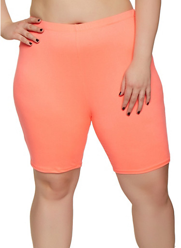 Plus Size Soft Knit Neon Bike Shorts,NEON PINK,large