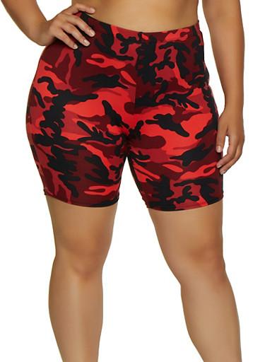 Plus Size Camo Bike Shorts | 0960074017600,RUST,large