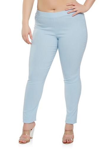 Plus Size Stitch Detail Stretch Pants,TURQUOISE,large