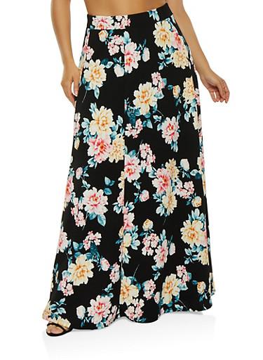 Plus Size Floral Maxi Skirt,BLACK,large