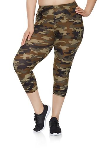 Plus Size Camo Capri Leggings,OLIVE,large