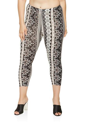 Plus Size Printed Capri Leggings,BLACK,large