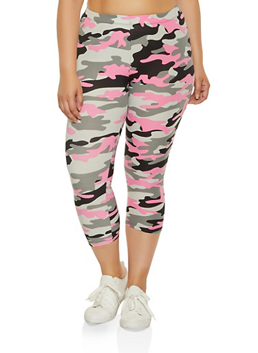 Plus Size Cropped Camo Leggings,PINK,large