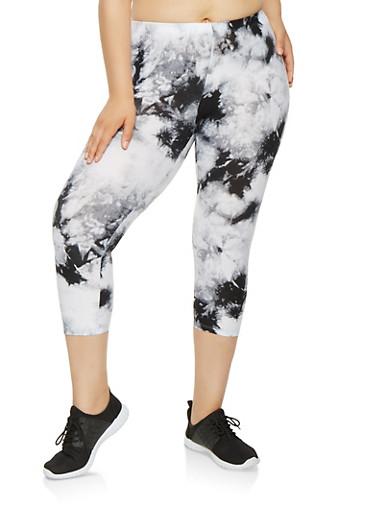 Plus Size Tie Dye Capri Leggings,BLACK,large