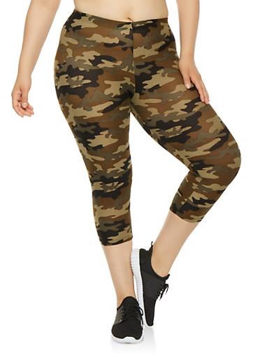 Plus Size Camo Print Capri Leggings,OLIVE,large