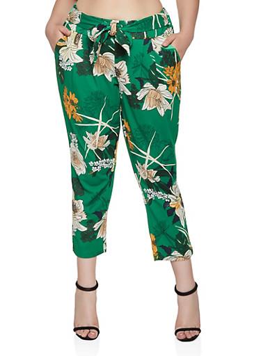 Plus Size Floral Tie Front Pants,GREEN,large