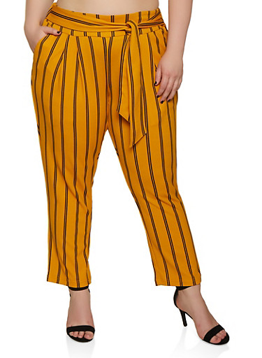 Plus Size Tie Front Striped Dress Pants,MUSTARD,large