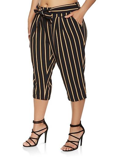Plus Size Tie Waist Striped Capris,NAVY,large