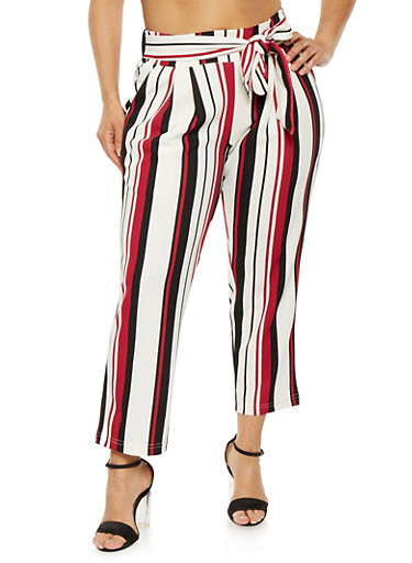 Plus Size Striped Tie Front Pants,RED,large