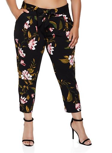 Plus Size Cropped Floral Dress Pants,BLACK,large