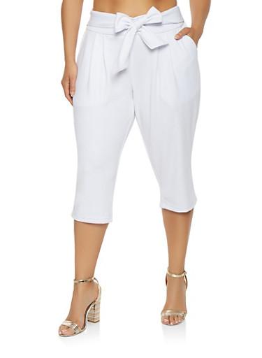 Plus Size Tie Waist Capri Pants,WHITE,large