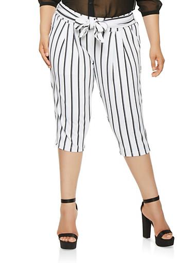Plus Size Striped Capri Dress Pants,WHT-BLK,large