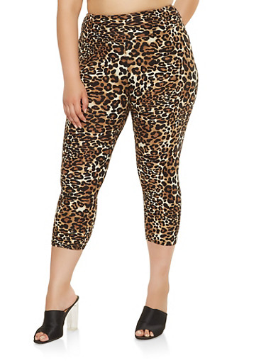 Plus Size Leopard Print Capri Leggings,CAMEL,large