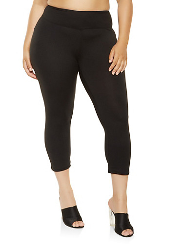 Plus Size Solid Capri Pants,BLACK,large