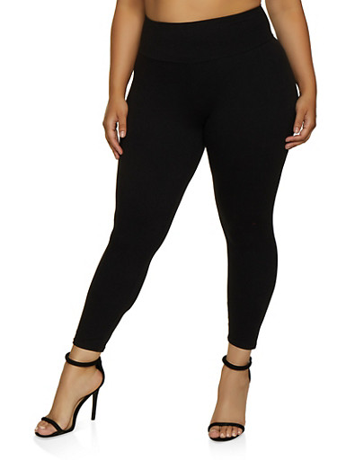 Plus Size Soft Knit Solid Leggings   0965061633439,BLACK,large