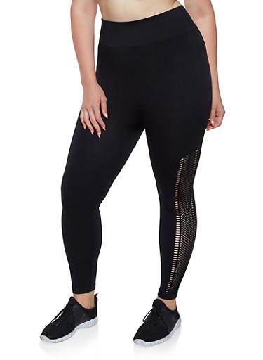 Plus Size Mesh Trim Activewear Leggings,BLACK,large