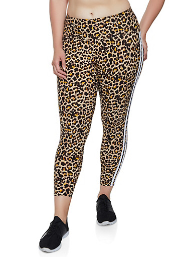 Plus Size Varsity Stripe Leopard Leggings,BROWN,large