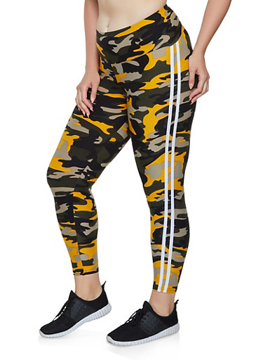 Plus Size Camo Varsity Stripe Leggings | 0965061633569,MUSTARD,large