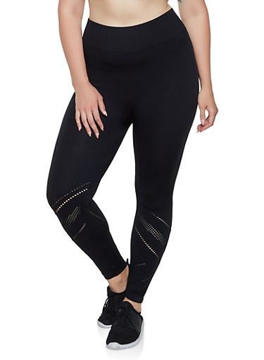 Plus Size Laser Cut Leggings | 0965061636344,BLACK,large