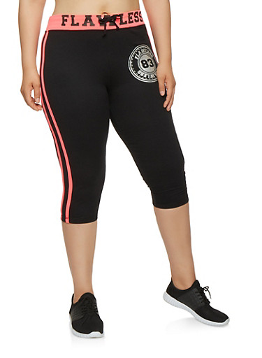 Plus Size Flawless Graphic Capri Sweatpants,BLACK,large