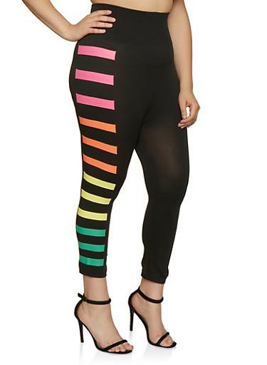 Plus Size Multi Color Side Stripe Detail Leggings,BLACK,large