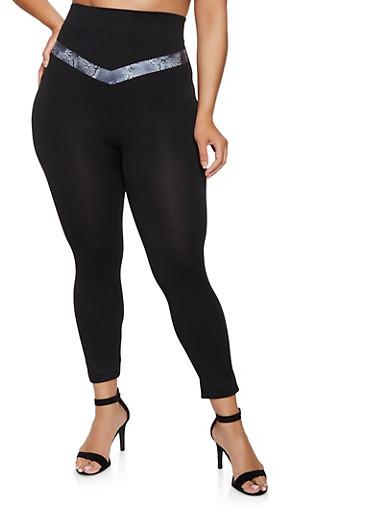Plus Size Animal Print Detail Leggings,BLACK,large