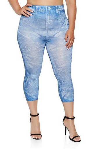 Plus Size Floral Jean Print Leggings,MEDIUM WASH,large