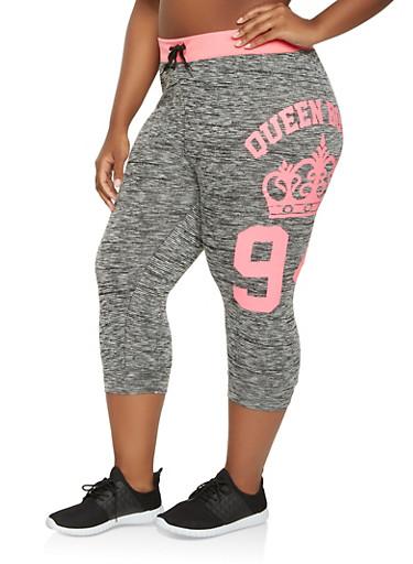 Plus Size Graphic Marled Capri Sweatpants,BLACK,large