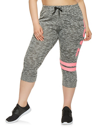 Plus Size Love Graphic Capri Sweatpants | Tuggl