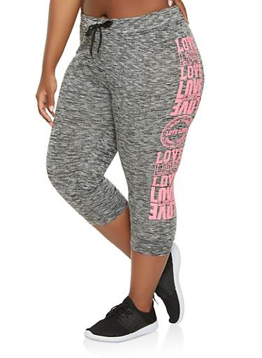 Plus Size Love Graphic Capri Sweatpants,BLACK,large