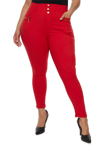 Plus Size Cuffed Pants with Zip Pockets,RED,large