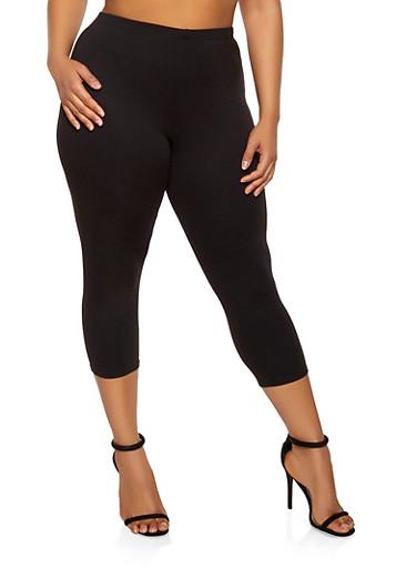 Plus Size Cropped Ponte Leggings,BLACK,large