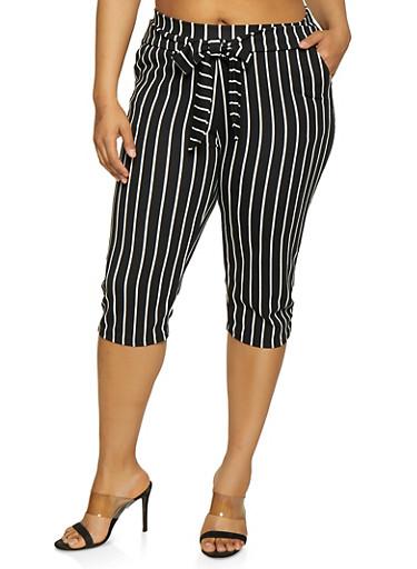 Plus Size Striped Tie Front Capri Pants,BLACK/WHITE,large