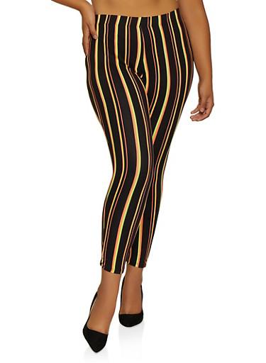 Plus Size Multi Stripe Soft Knit Leggings,BLACK,large