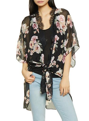Floral Kimono with Tank Top,BLACK,large