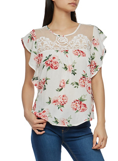 Embroidered Mesh Yoke Floral Top,IVORY,large