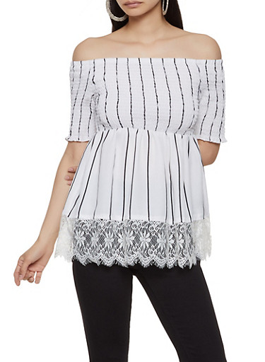 Smocked Off the Shoulder Striped Top | 1001038340613,WHT-BLK,large