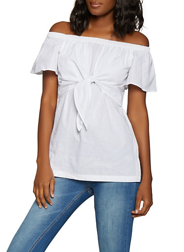 Tie Front Off the Shoulder Top,WHITE,large
